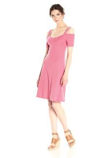 Three Dots Women's Stripe Cold Shoulder Dress  M