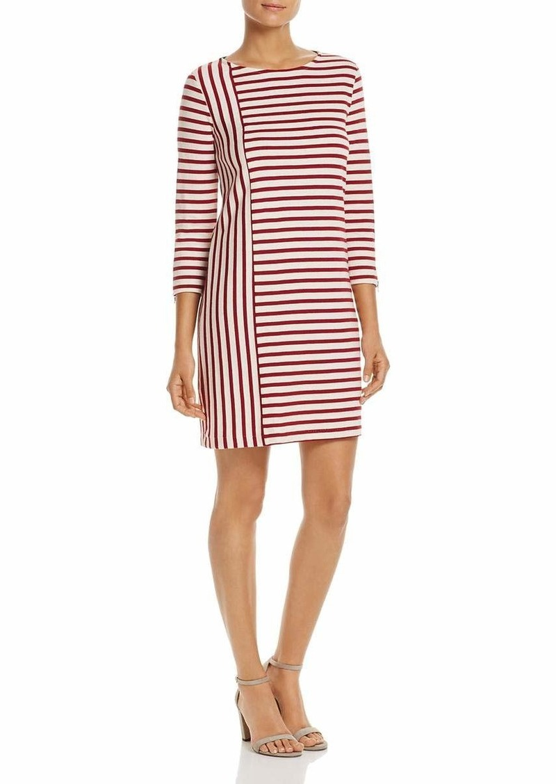 Three Dots Women's Stripe Combo Shift mid Loose Dress  Extra Large