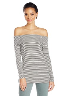 Three Dots Women's Stripe Off Shoulder French Terry Tee  S