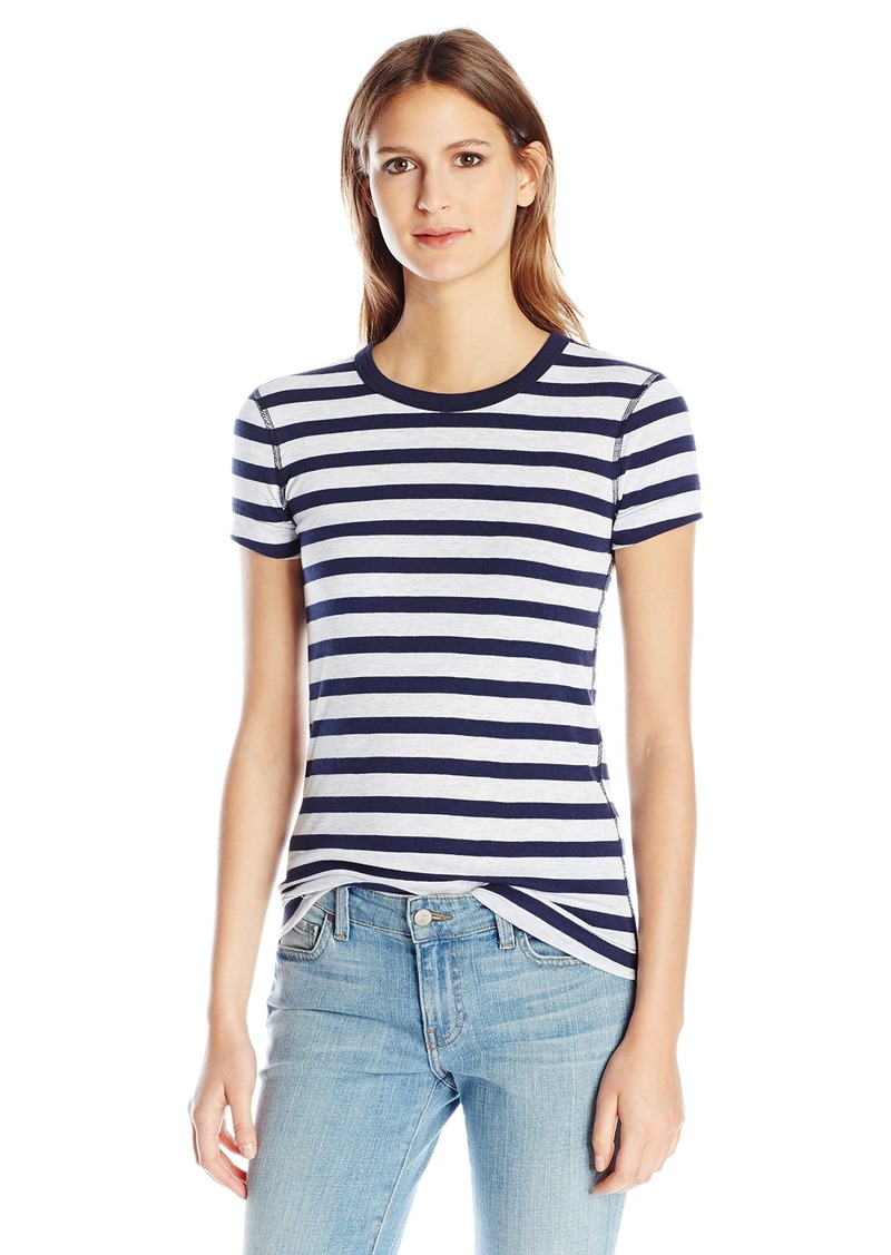 Three Dots Women's Stripe Short Sleeve Crewneck Coastal XS