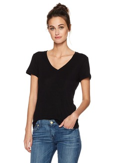 Three Dots Women's Sunday Rib Short SLV V-Neck Tee  L