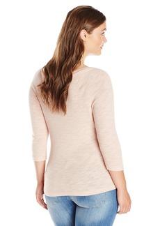 Three Dots Women's Sweater Slub 3/4 Sleeve V-Neck Top