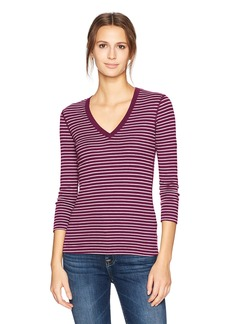 Three Dots Women's Tahoe Stripe 3/4 SLV deep Neck mid Shirt