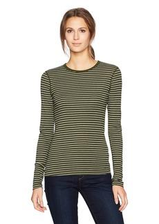 Three Dots Women's Tahoe Stripe Christy Crewneck Tight Long Shirt