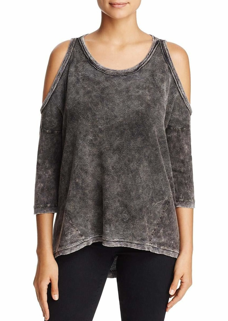 Three Dots Women's Thermal Cold Shoulder Loose Mid Shirt  Xtra Small