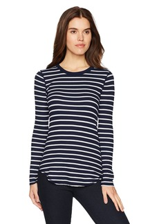 Three Dots Women's Thermal Stripe Tight Long Shirt Night iris