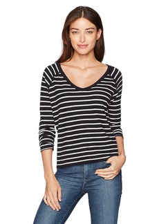 Three Dots Women's Thermal Stripe V-Neck Loose Short Shirt