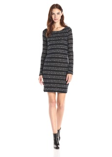 Three Dots Women's Tie Back Metallic Stripe Sweater Dress