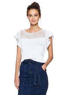 Three Dots Women's Trellis Lace Flutter Sleeve Top  S