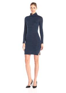 Three Dots Women's Trine Space Dye Long Sleeve Turtleneck Dress