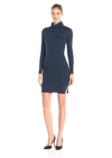 Three Dots Women's Trine Space Dye Long Sleeve Turtleneck Dress