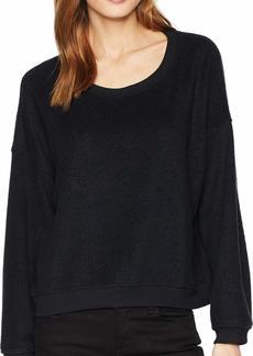 Three Dots Women's UY2802 Sherpa Yarn DYE Drop Shoulder Sweatshirt  Extra Small