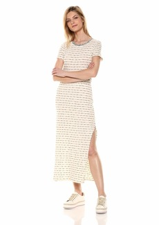Three Dots Women's VH5881 SLUB Stripe Knit T-Shirt Dress Black/Cream Extra Small