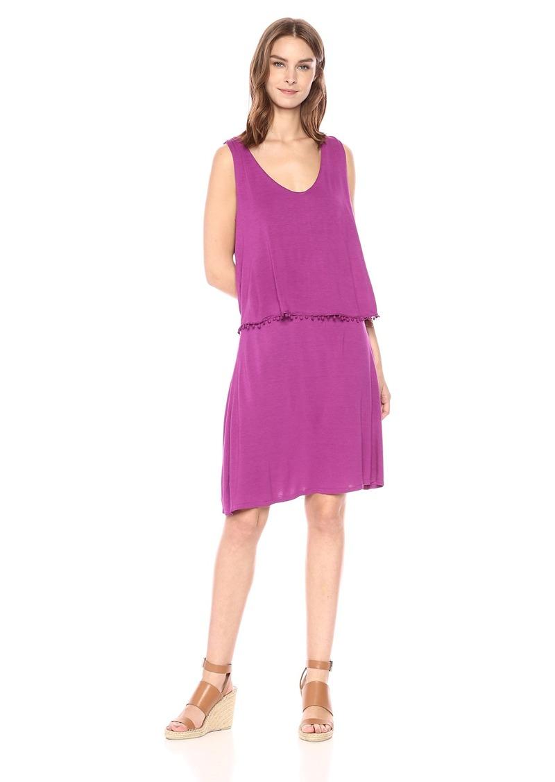 Three Dots Women's Vintage Jersey 2-fer Short Loose Dress  Extra Large