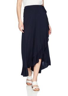 Three Dots Women's Vintage Jersey Loose mid wrap Skirt Night iris