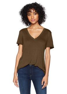 Three Dots Women's Vintage Jersey v-Neck Short Loose top