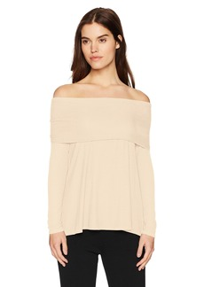 Three Dots Women's Viscose Off Shoulder Loose Mid Shirt