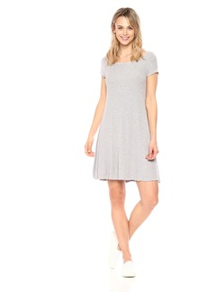 Three Dots Women's Viscose Rib mid Loose Dress