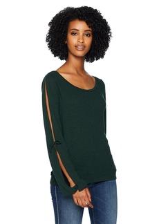 Three Dots Women's VJ2689 eco Knit top w/Slit Sleeves deep Pine Extra Large
