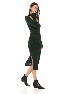 Three Dots Women's VJ5860 eco Knit l/s Shirred Dress deep Pine Extra Small