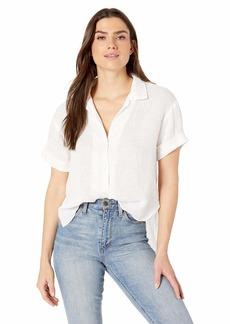 Three Dots Women's WL1569 LT WT Linen S/S Shirt W/Split Back  Extra Large