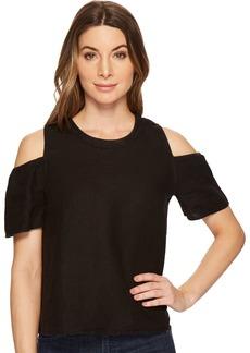 Three Dots Women's Woven Linen Cold Shoulder mid Shirt
