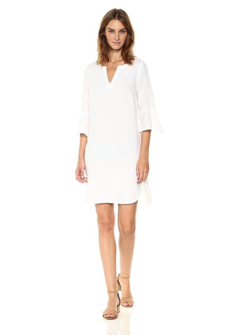 Three Dots Women's Woven Linen Flounce Sleeve Dress  M