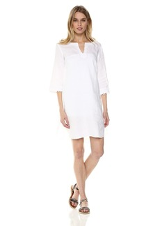 Three Dots Women's Woven Linen Short Loose Tunic Dress
