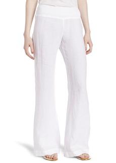 Three Dots Women's Woven Linen Wide Leg Pant white M
