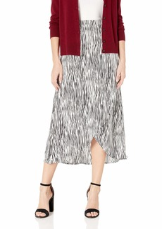 Three Dots Women's ZB3254 Zebra Print Crepe WRAP Skirt White/Black Extra Small