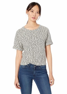Three Dots Women's ZK1580 Mini Zebra Knit Boxy TEE Black/Cream Extra Small