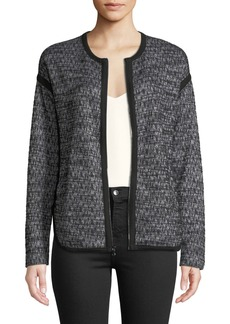 Three Dots Tipped Tweed Zip-Front Jacket