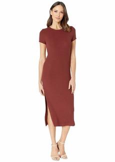 Three Dots Viscose Rib Dress with Slits
