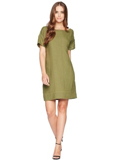 Three Dots Woven Linen Cross-Back Shift Dress