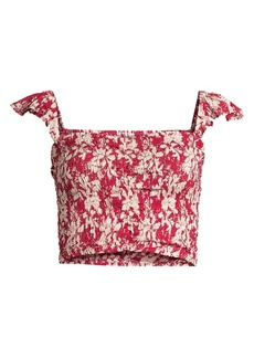 Tiare Hawaii Hollie Ruched Floral Crop Top
