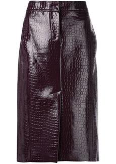 Tibi crocodile embossed skirt