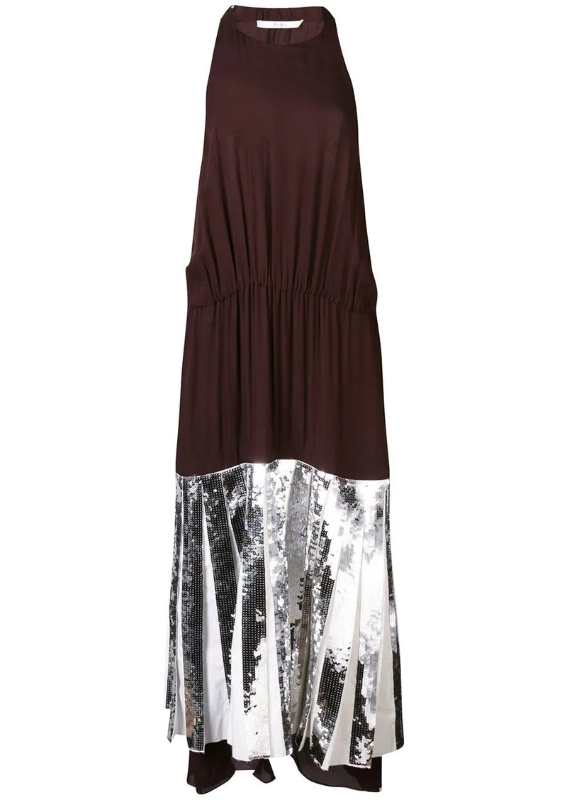 Tibi Claude sequin panel halterneck dress