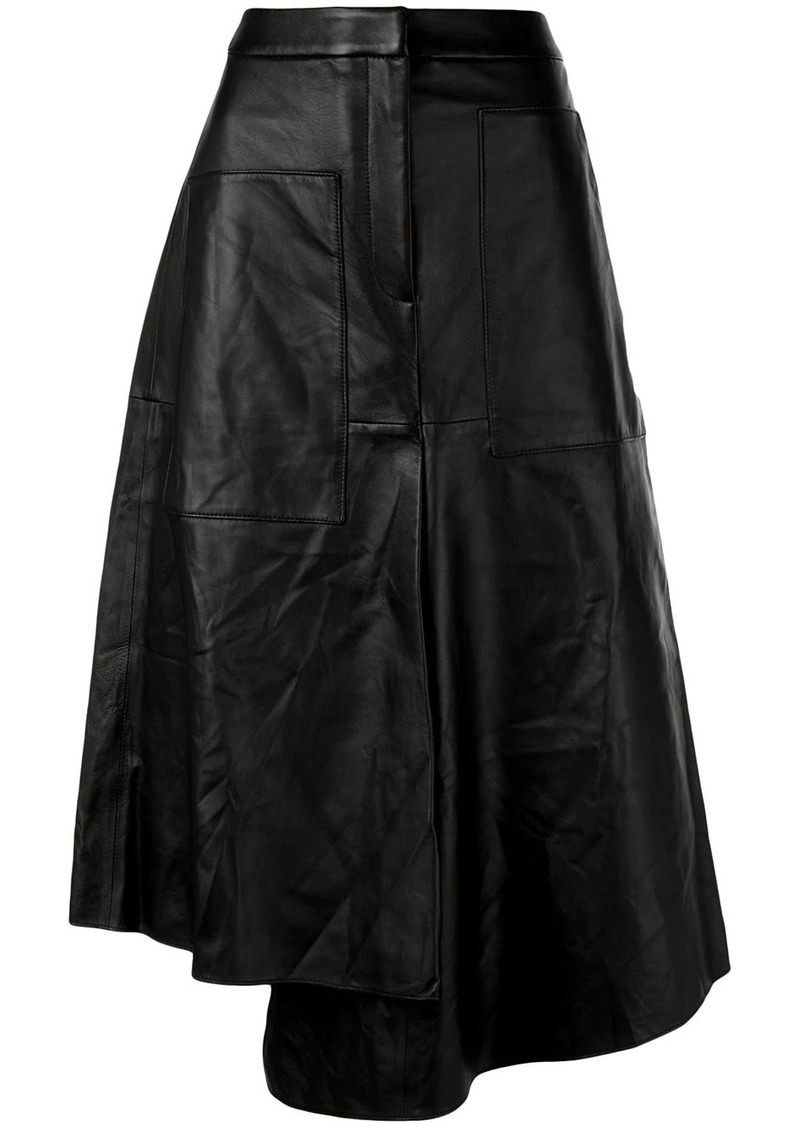 Tibi asymmetric leather skirt