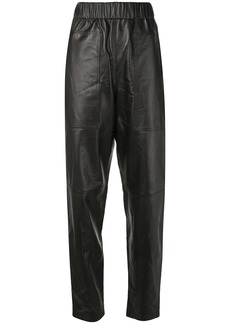 Tibi tapered leather trousers