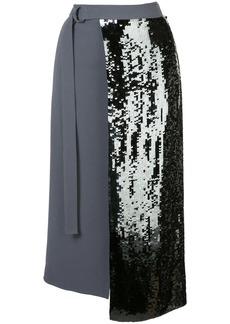 Tibi sequinned wrap skirt