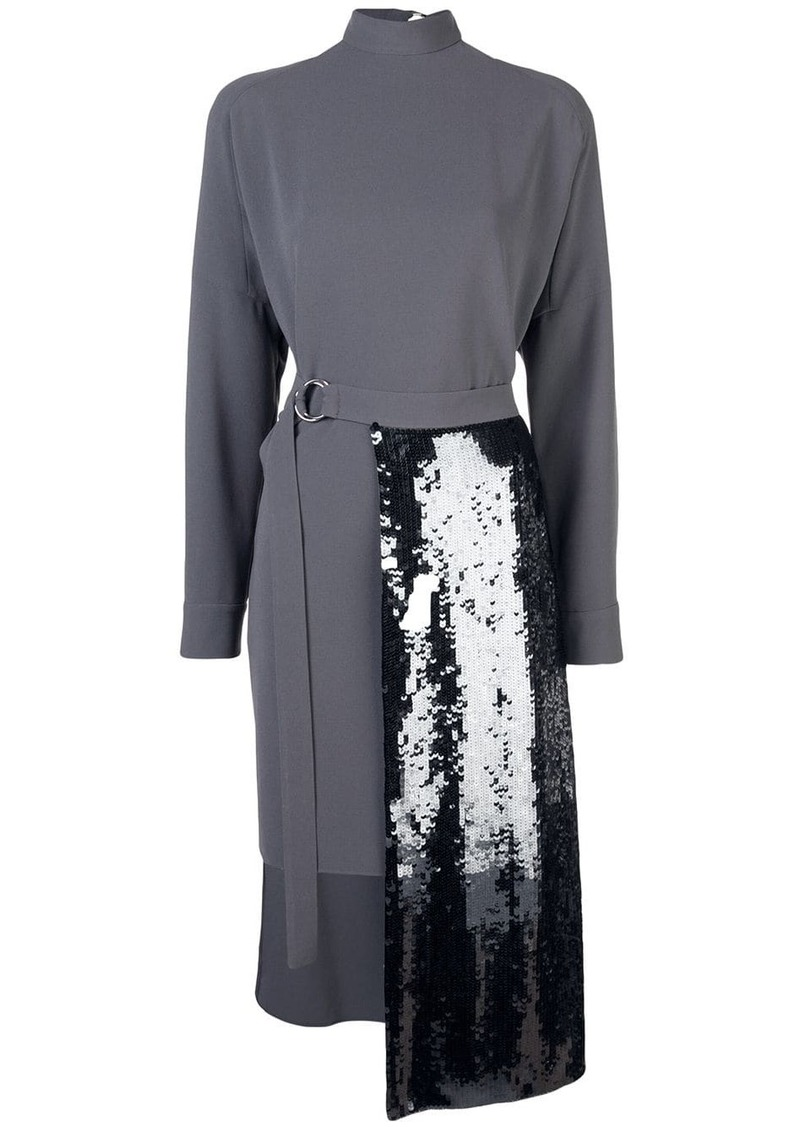 Tibi sequin panelled knitted dress