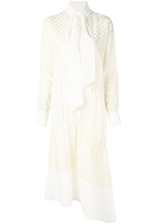 Tibi polka dot tie neck dress