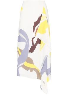 Tibi abstract print asymmetric midi skirt