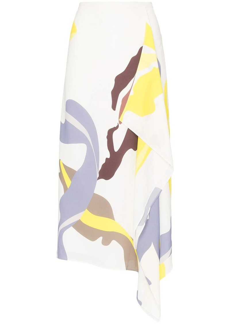 Tibi abstract print midi skirt