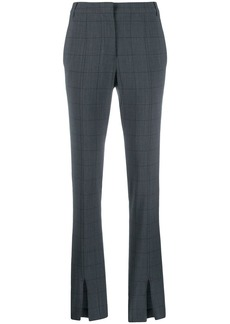Tibi ankle-slit check trousers
