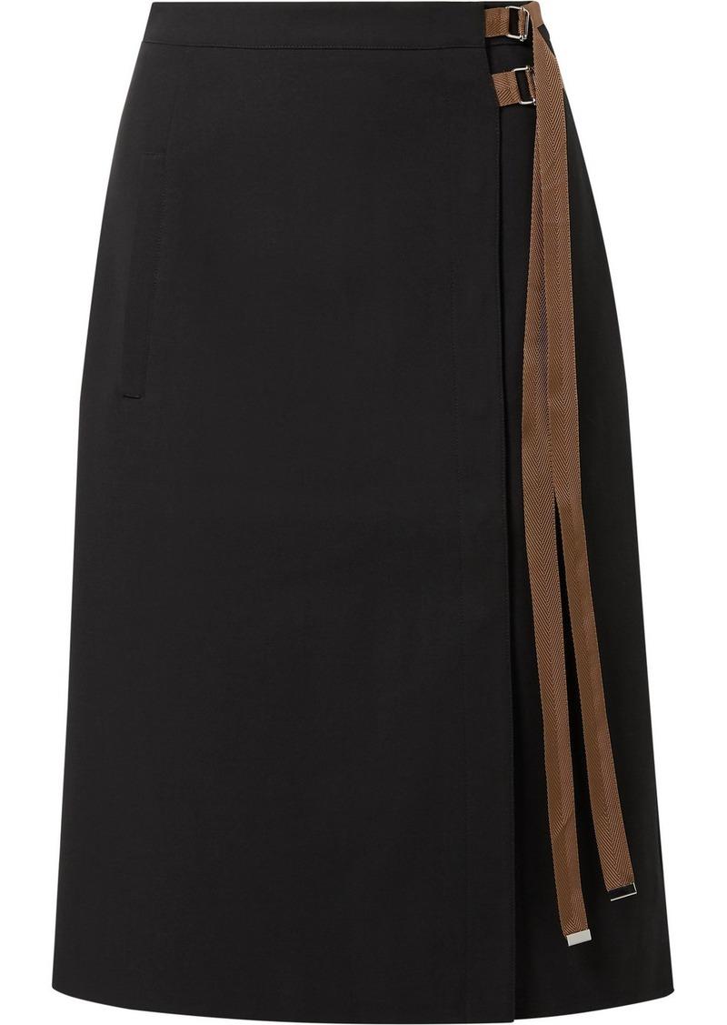 Tibi Anson Grosgrain-trimmed Crepe Midi Skirt