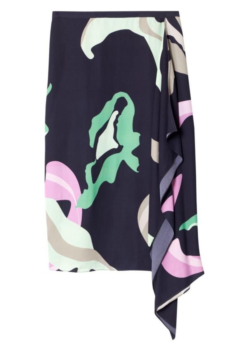 Tibi Ant Farm-Print Asymmetric Skirt