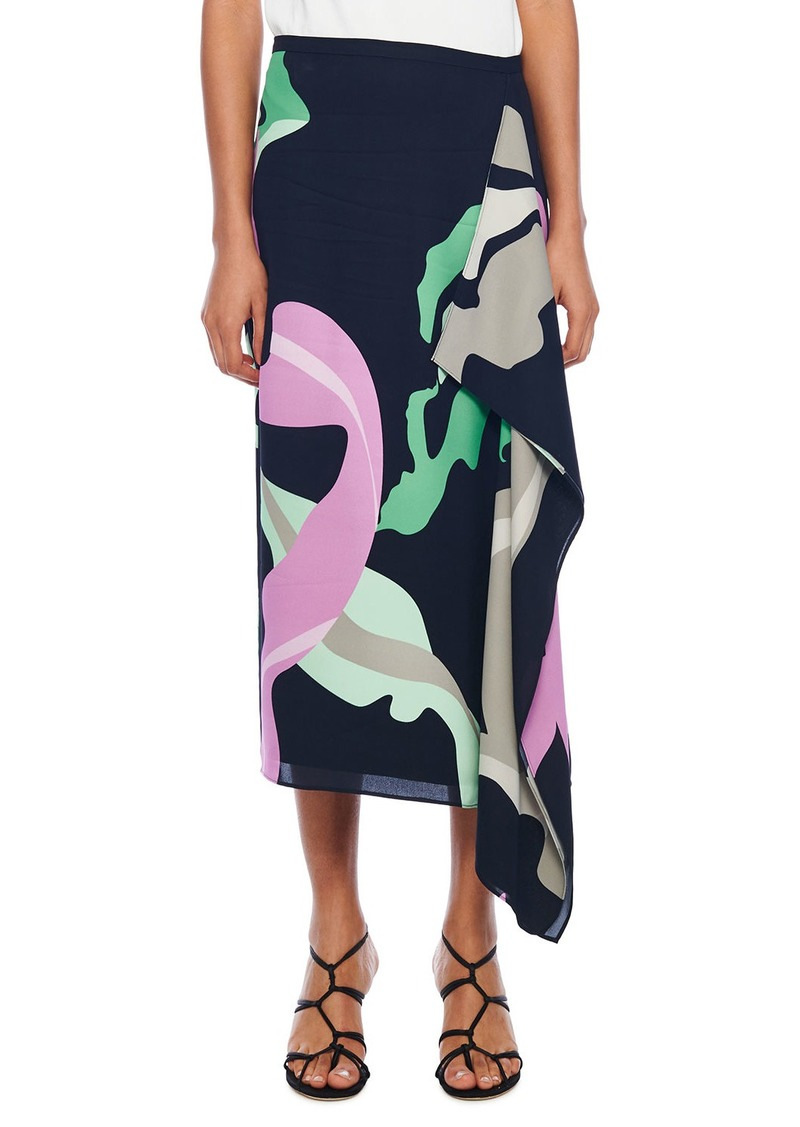 Tibi Ant Farm Printed Asymmetrical Skirt