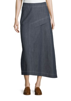 Tibi Asymmetric A-Line Midi Denim Skirt