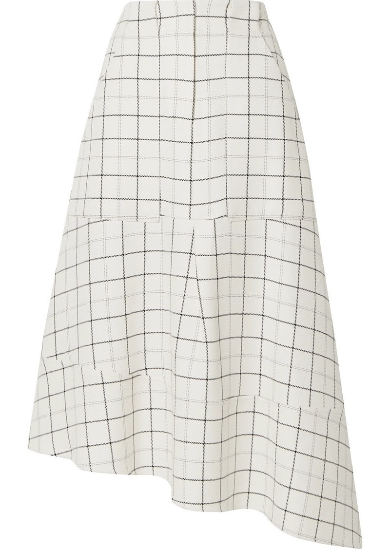 Tibi Asymmetric Checked Woven Midi Skirt